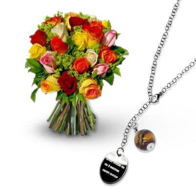 01 Rose colorate con collana da incidere