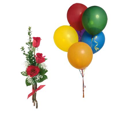 Bouquet Di Tre Rose Rosse Con 5 Palloncini