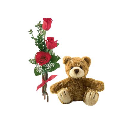 Bouquet Di Tre Rose Rosse Con Orsetto Marrone