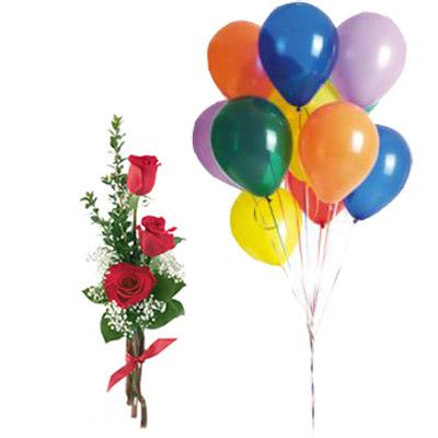 Ordina 04 Tre Rose Rosse Con 10 Palloncini online e invia a domicilio
