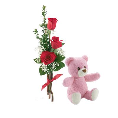 Ordina 04 Tre Rose Rosse Con Orsetto Rosa online e invia a domicilio