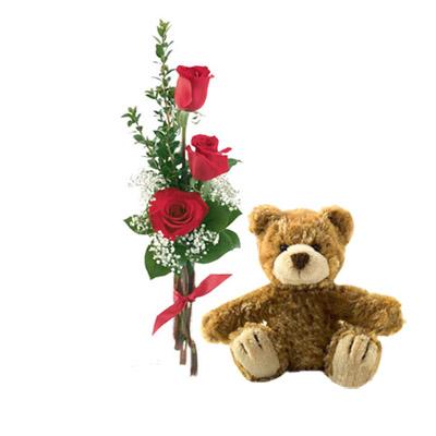 Ordina 04 Tre Rose Rosse Con Orsetto Marrone online e invia a domicilio