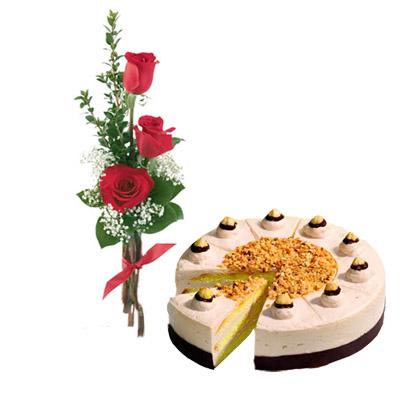 04 Bouquet Di Tre Rose Rosse Con Torta