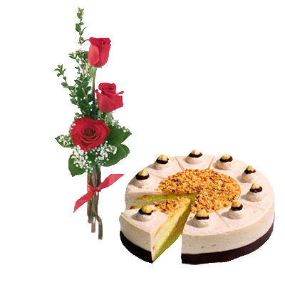 Bouquet Di Tre Rose Rosse Con Torta