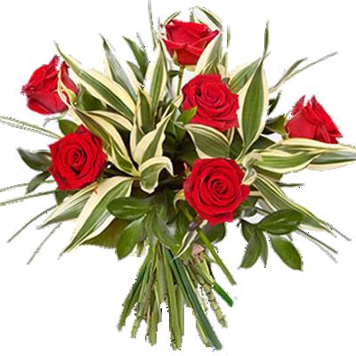 Fascio di Sei Rose Rosse