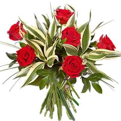 Ordina 04 Fascio di Sei Rose Rosse online e invia a domicilio
