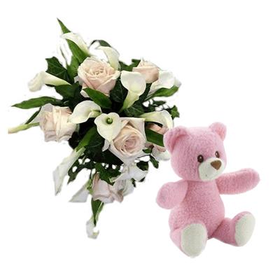 15 Bouquet Rose e Calle con Orsetto Rosa