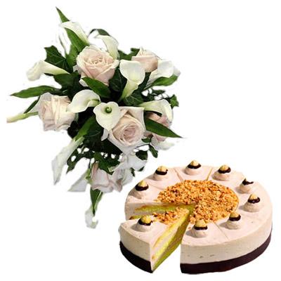 15 Bouquet Rose e Calle con Torta