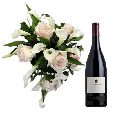 15 Bouquet Rose e Calle con Vino Rosso