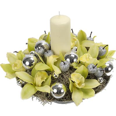 Composizione Natalizia Con Orchidee