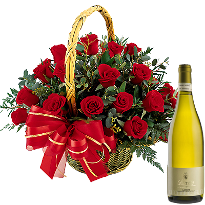 Cestino di Rose con Vino Bianco