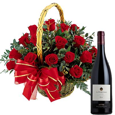 Cestino di Rose con Vino Rosso
