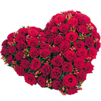 Ordina 03 Cuore di Rose Rosse online e invia a domicilio