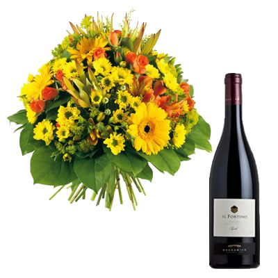Ordina 03 Fiori Misti Con Vino Rosso online e invia a domicilio