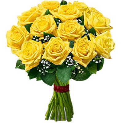 Ordina 03 Bouquet di Rose Gialle a Stelo Corto online e invia a domicilio