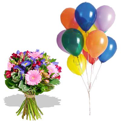Bouquet Iris con 10 Palloncini