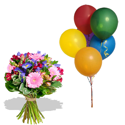 Bouquet Iris con 5 Palloncini