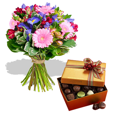 Bouquet Iris con Cioccolatini