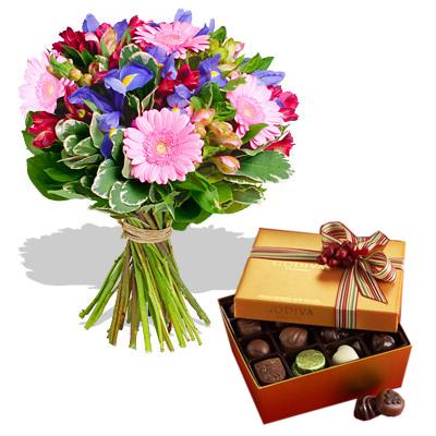 Ordina 16 Mazzo di Iris Viola con Cioccolatini online e invia a domicilio