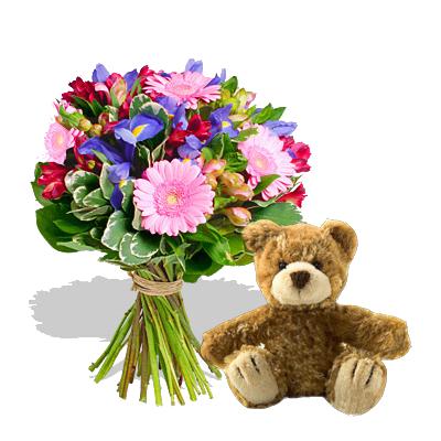 Bouquet Iris con Orsetto Marrone