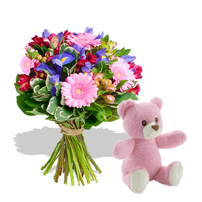 Bouquet Iris con Orsetto Rosa
