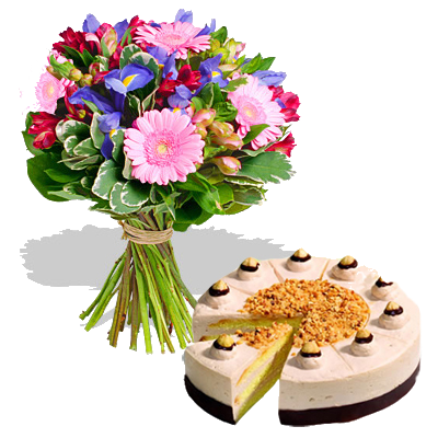 Bouquet Iris con Torta