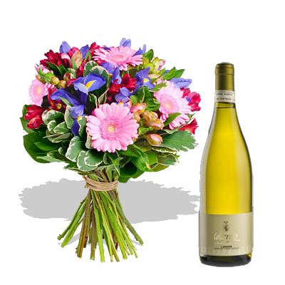 Bouquet Iris con Vino Bianco