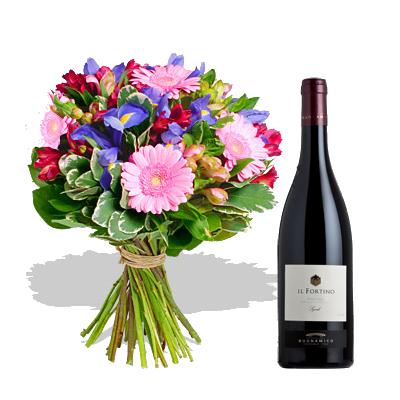 Bouquet Iris con Vino Rosso
