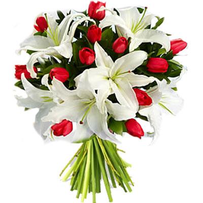 Ordina 03 Tulipani Rossi e Lilium Bianchi online e invia a domicilio