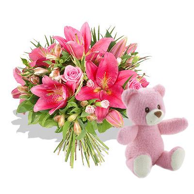 Ordina 12 Bouquet di Rose e Lilium con Orsetto Rosa online e invia a domicilio