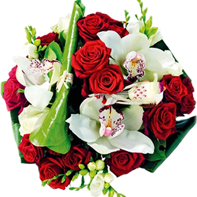Rose Rosse con Orchidee