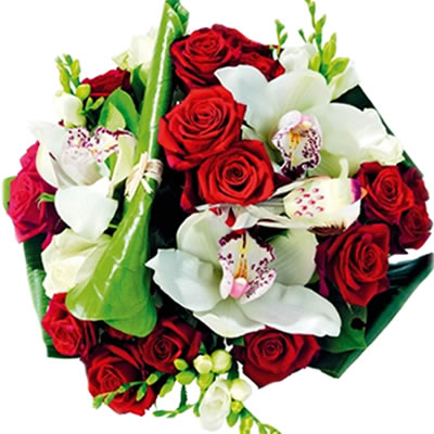 03 Rose Rosse con Orchidee