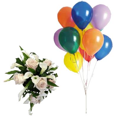 Bouquet Rose e Calle con 10 Palloncini