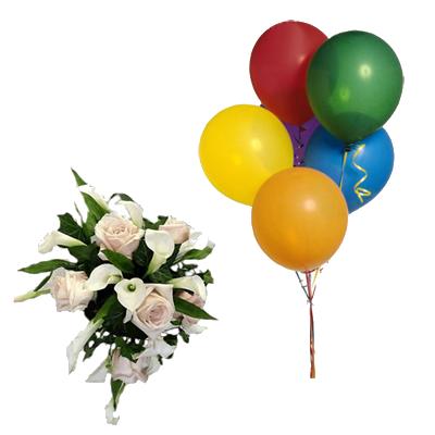 Bouquet Rose e Calle con 5 Palloncini