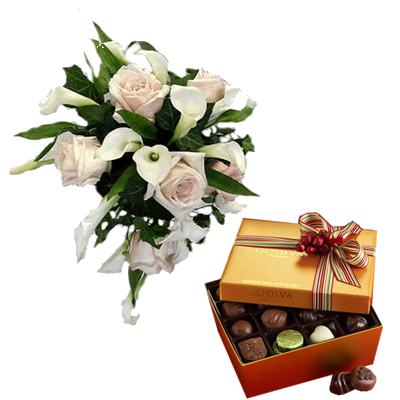 Bouquet Rose e Calle con Cioccolatini
