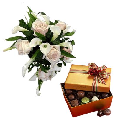 Bouquet Rose e Calle con Cioccolatini