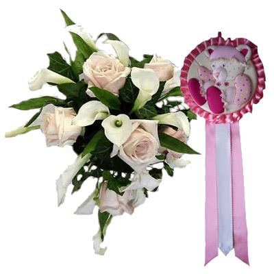 Bouquet Rose e Calle con Coccarda Rosa