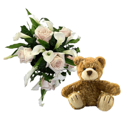 Bouquet Rose e Calle con Orsetto Marrone