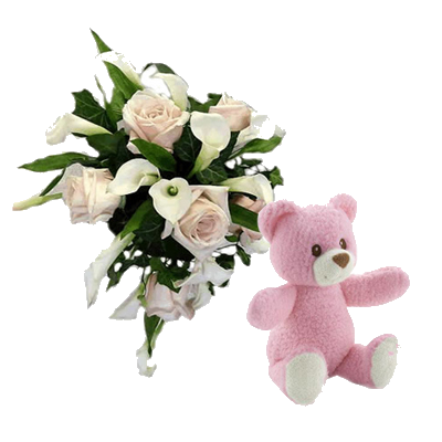 Bouquet Rose e Calle con Orsetto Rosa