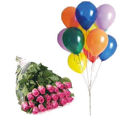 Rose Rosa con 10 Palloncini