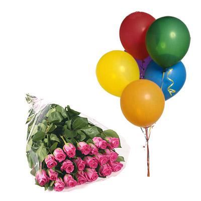 Rose Rosa con 5 Palloncini