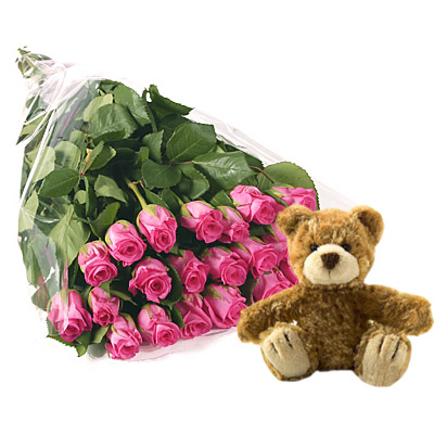 Ordina 19 Bouquet di Rose Rosa con Orsetto Marrone online e invia a domicilio
