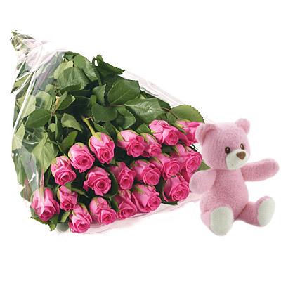 Ordina 19 Bouquet di Rose Rosa con Orsetto Rosa online e invia a domicilio