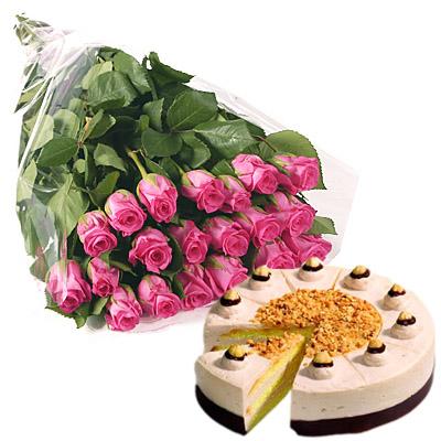 Ordina 19 Bouquet di Rose Rosa con Torta online e invia a domicilio