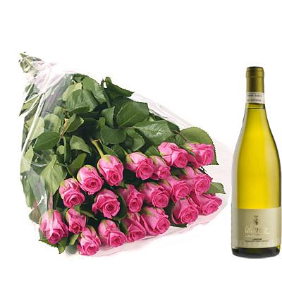 Ordina 19 Bouquet di Rose Rosa con Vino Bianco online e invia a domicilio