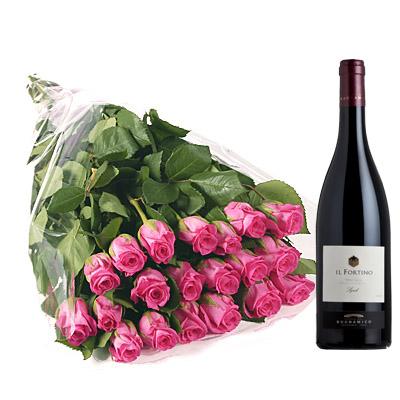 Ordina 19 Bouquet di Rose Rosa con Vino Rosso online e invia a domicilio