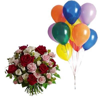Ordina 09 Rose Rosse e Rosa in Bouquet con 10 Palloncini online e invia a domicilio
