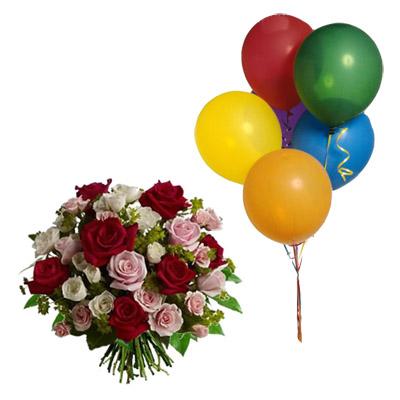 Ordina 09 Rose Rosse e Rosa in Bouquet con 5 Palloncini online e invia a domicilio