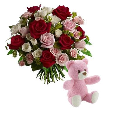Ordina 09 Rose Rosse e Rosa in Bouquet con Orsetto Rosa online e invia a domicilio