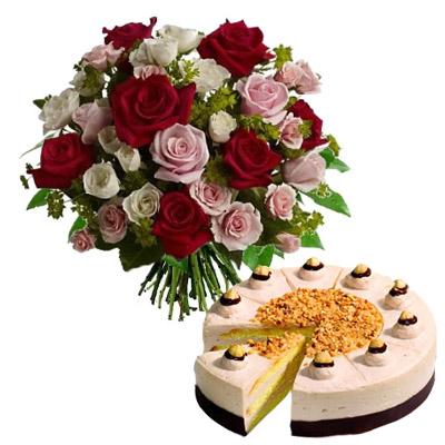 Ordina 09 Rose Rosse e Rosa in Bouquet con Torta online e invia a domicilio